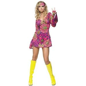 Hippie Girl Costume Adult Gogo Dancer 60s 70s Flower Child