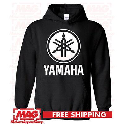 YAMAHA HOODIE BLACK Racing Motocross Hooded Sweatshirt ATV Logo Moto YZF OEM R1