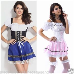 SEXY-FRENCH-MAID-COSTUME-BEER-GIRL-OUTFIT-Blue-Wench-Fancy-Dress-Waitress-MS1012