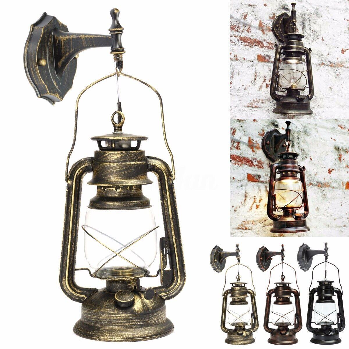 Retro Lanterna Applique Lampada Parete Muro da Esterno Luce LED Bulbo/Cherosene