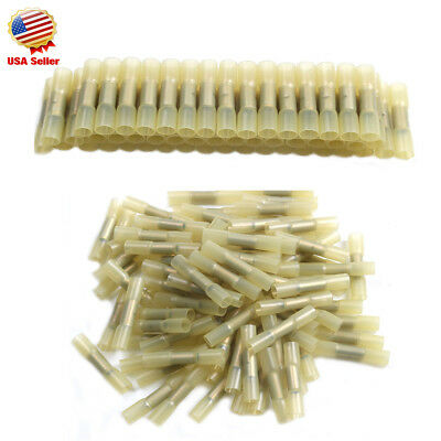 200pcs Heat Shrink Insulated Butt Wire Crimp Connectors Crimp Terminals Yellow