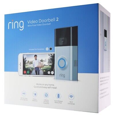 Ring - Video Doorbell 2 - Satin / Nickel (8VR1S7-0EN0) WiFi - 1080p - 2 Way Talk