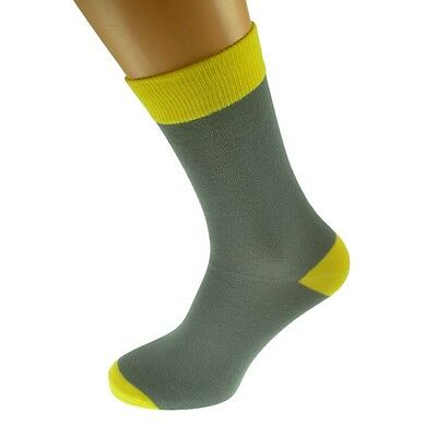 Grey Mens Socks with Yellow heal and toes, popular Wedding Day Socks...