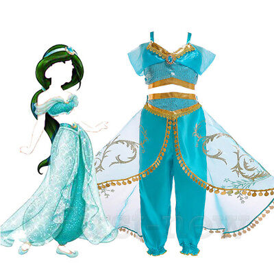For Princess Jasmine Aladdin Costume Cosplay Outfit Girls Womans Halloween - Princess Jasmine Child Costume