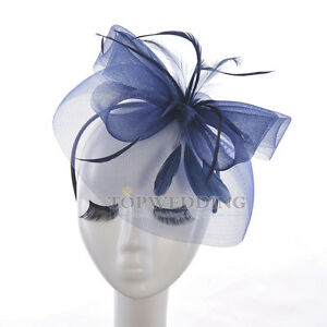 Elegant-Navy-Kentucky-Derby-Featherd-Fascinator-Hat-Wedding-Church-Hat-HeadBand