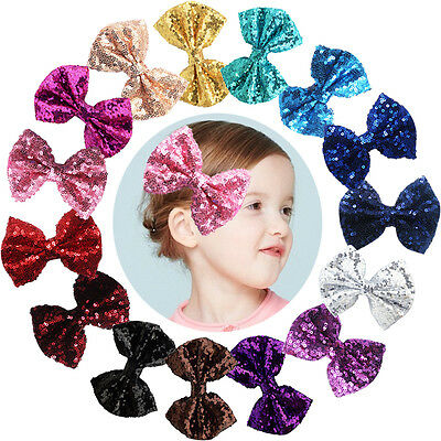 """15pcs Bling Sparkly Glitter Sequins Big 4"""" Hair Bows Alligator Clips For Party"""