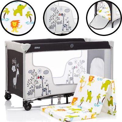 Kinder Reisebett GIRAFFE (Mit Matratze 100% BAUMWOLLE) Baby Klapp Bett Laufstall