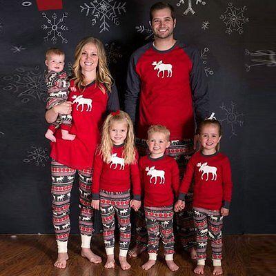 Family Matching Christmas Pajamas Set Women Baby Kids Deer Sleepwear Nightwear