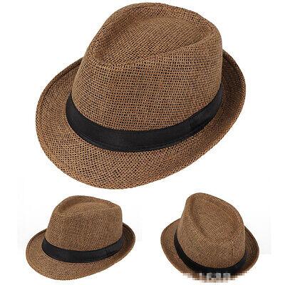 Mens Fashionable Straw Panama Hat Handmade Cowboy Caps Summer Beach Travel Hats Stylish Straw Cowboy Hat