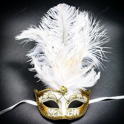 Venetian White Gold Masquerade Mask Show Girl Ostrich Feather Eye Mask Costume](Girls Masquerade Costumes)
