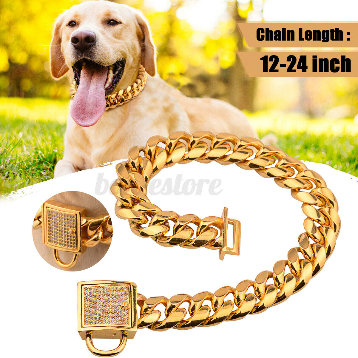 18/24 Gold Stainless Steel Curb Chain Pet Dog Choker Collar Rottweiler Pit Bull Collars