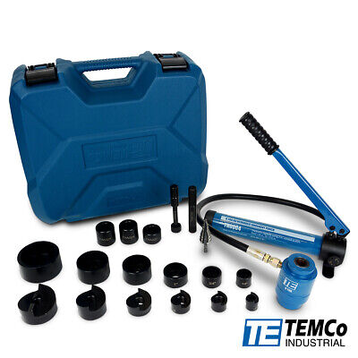 Temco 2 Hydraulic Knockout Punch Electrical Conduit Hole Cutter Set Ko Tool Kit