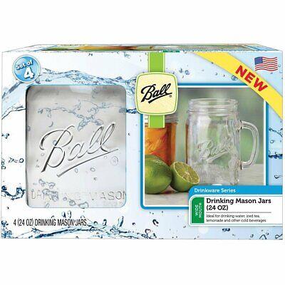 Ball 1440016011 Wide Mouth Glass Drinking Mason Jars, 24 Oz, 4-Pack