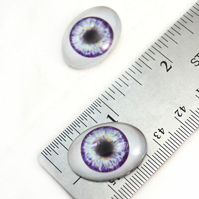 Oval Glass Doll - 18x25mm Purple Doll Oval Glass Eyes, Fantasy Dolls Art Pair with Whites Flatback