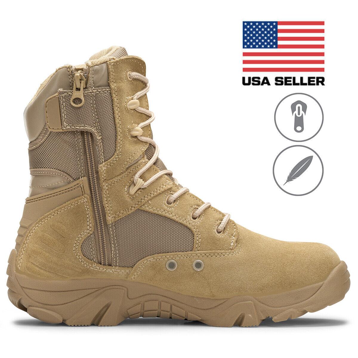 "Bufferzone® Men's 8"" Desert Tan Military Combat Tactical  Boots With Zipper"
