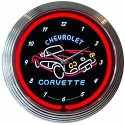 Chevrolet Corvette C1 Logo Red Neon Hanging Wall Clock 15 Diameter 8CORV1