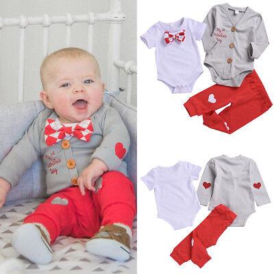 Baby Boy 1st Valentine's Day Costume Bowtie Gentleman Outfit