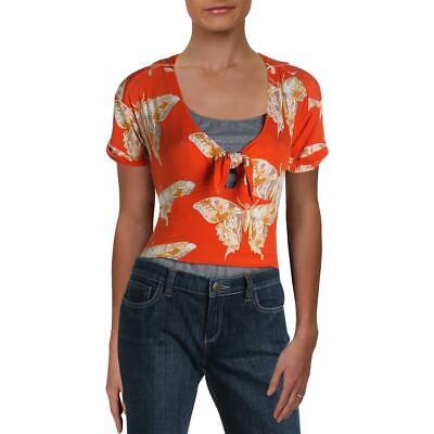 Free People Womens Ready Set Sail Orange Tee Tie-Front Top Shirt XS BHFO 7396 Cruise Top Shirt