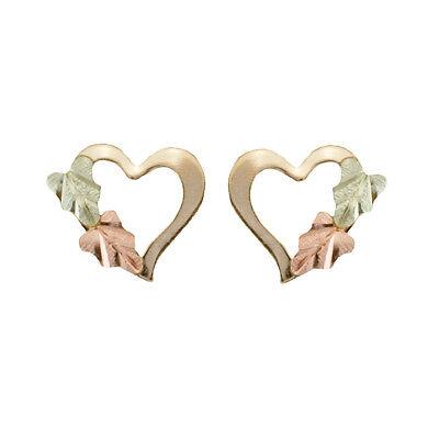 Simply Stunning Black Hills Gold petite Heart 10k Earrings -