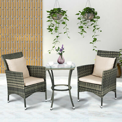 Garden Furniture - 3PCS Patio Rattan Furniture Set Chairs & Table Garden Grey