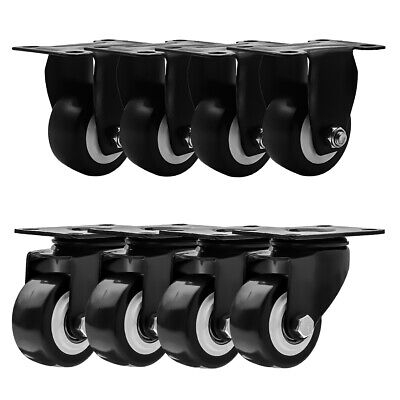 8 Pack Combo 2.5 Inch All Black Pu Caster Wheels 4 No Brake 4 Rigid Fixed