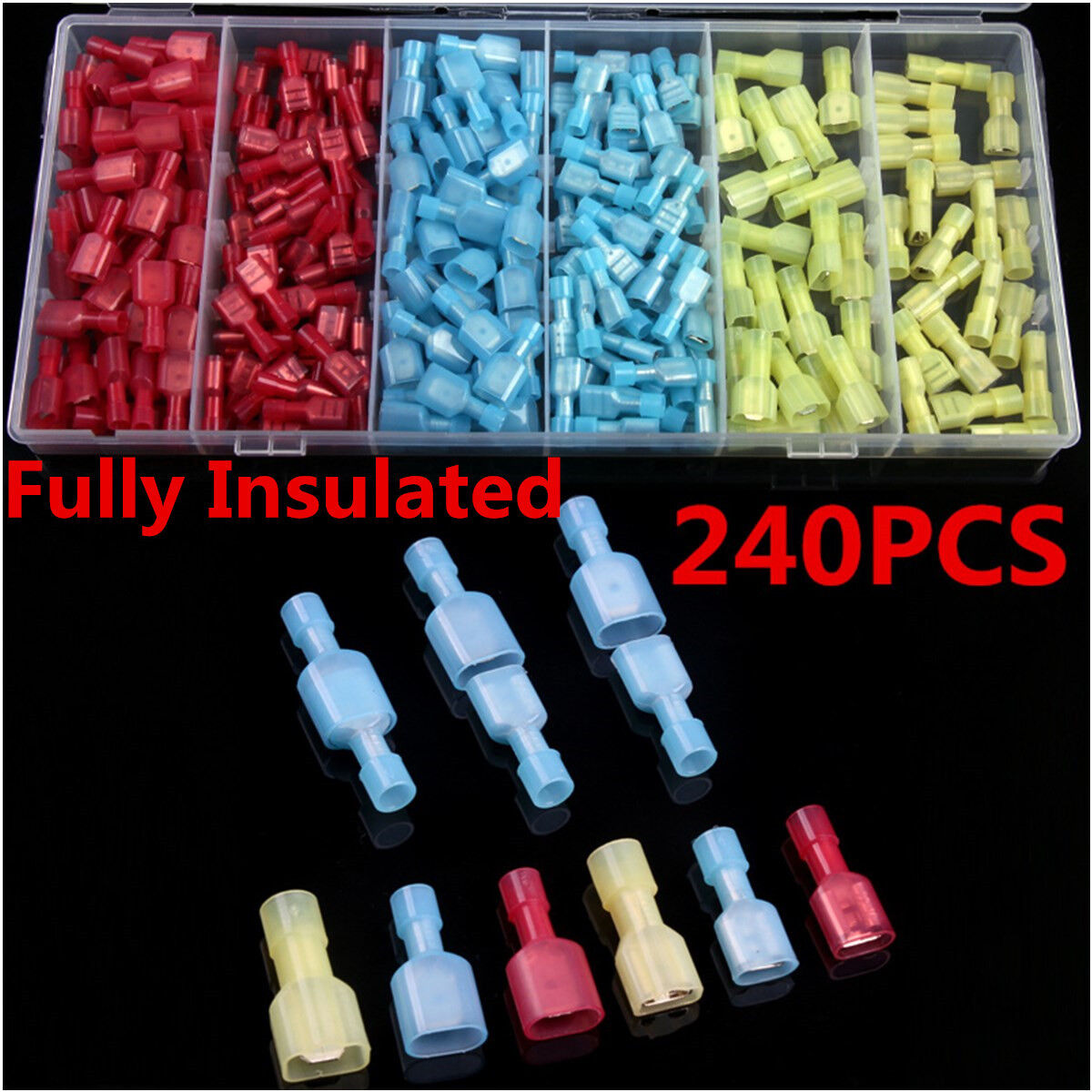 240pc Nylon Fully Insulated Electrical Crimp Wire Connectors Terminals Spade Kit