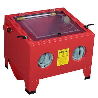 25 Gallon/90L Sandblaster Sand Grit Blasting SandBlasting Bead Cabinet W/ LED