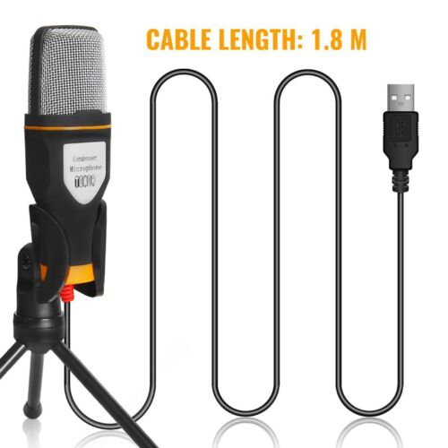 USB Microphone Mic With Stand Tripod Audio Recording For Com