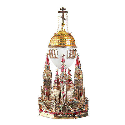 Russian Faberge Egg / Music Box / Trinket Jewel Box Moscow Kremlin 6.3'' red for sale  Shipping to United States
