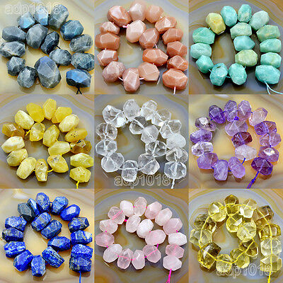 "Natural Gemstone Nugget Beads 8"" Crystal Amethyst Citrine Prehnite Lazuli"