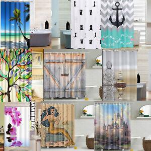 3d long rideau de salle de bain douche baignoire tissu - Rideau de douche en tissu impermeable ...