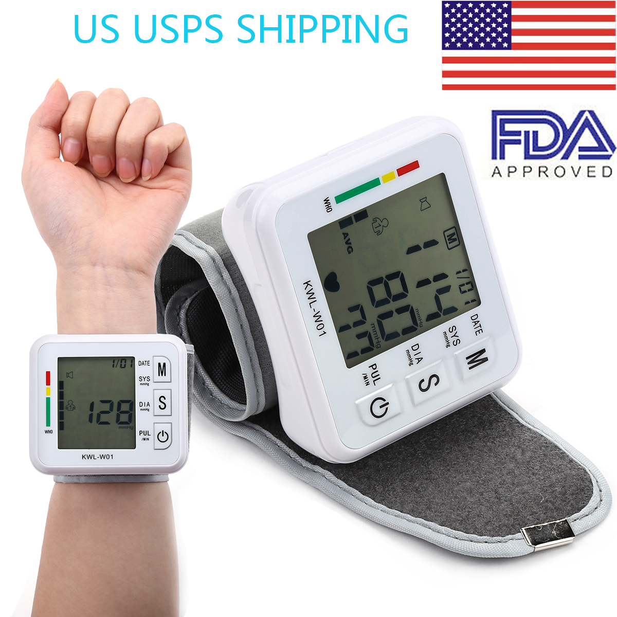 LCD Digital Wrist Blood Pressure Monitor BP Cuff Gauge Heart