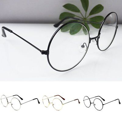 Frauen Männer große übergroße Metallrahmen klare Linse runden Kreis Gläser