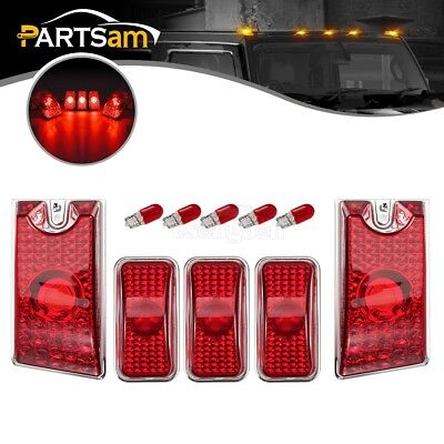- 5xRed Cab Marker Roof Running Top Lights w/Bulbs for 2003-2009 Hummer H2 SUV SUT