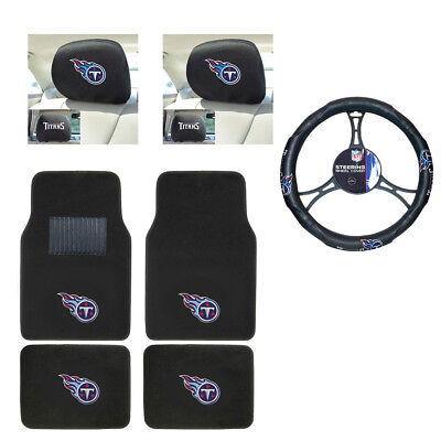 NFL Tennessee Titans Car Truck Floor Mats Headrest Covers Steering Wheel Cover
