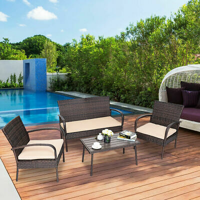 Garden Furniture - 4PCS Patio PE Rattan Wicker Table Sofa Furniture Set Outdoor Garden W/Cushions