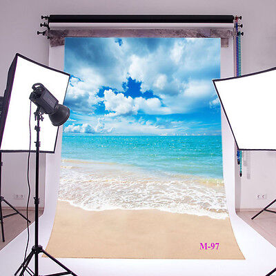 Beach Thin Vinyl background Photography studio Photo Prop backdrop 5X7FT M-97