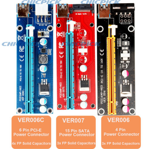 как выглядит 6 Pack USB 3.0 Cable Pcie PCI-E 1x To 16x Extender Riser Card BTC ETH Adapter фото