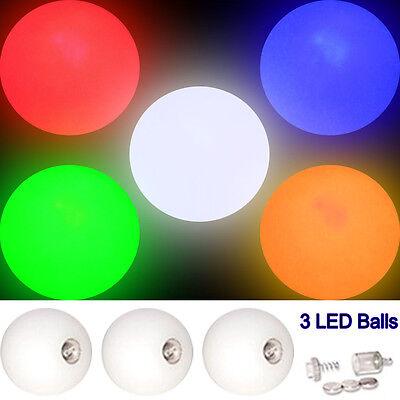 Set of 3 Pro LED Glow Juggling Balls - Choice of Colour - Light Up Ball