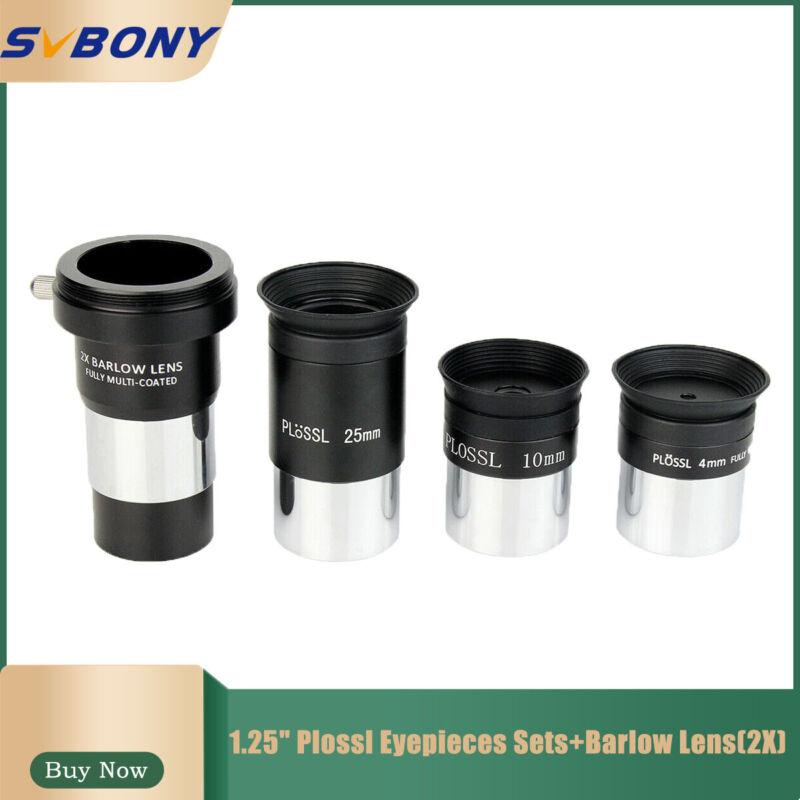"1.25"" Plossl Eyepieces Sets 4/10/25mm+Barlow Lens(2X) For Astronomical Telescope"
