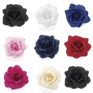 Glitter-Edge-Rose-Flower-Hair-Elastic-Bobble-Band-Beak-Clip-Corsage-Fascinator