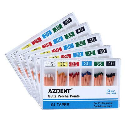 5x Dental Gutta Percha Point 0.04 15-40 60 Point Zinc Oxide Barium Sulfate