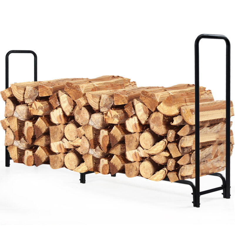 8 Feet Outdoor Steel Firewood Log Rack Wood Storage Holder for Fireplace Black