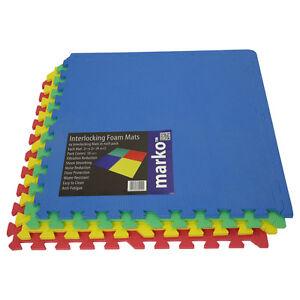 96 sq ft multicolored interlocking eva soft foam play area exercise floor mats - Tapis carres multicolores ...