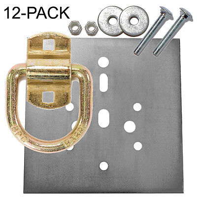 "Heavy Duty D-Ring 12,240 lb Tiedown and Backing Plate w/ 2-1/2"" Hardware 12-Pack"