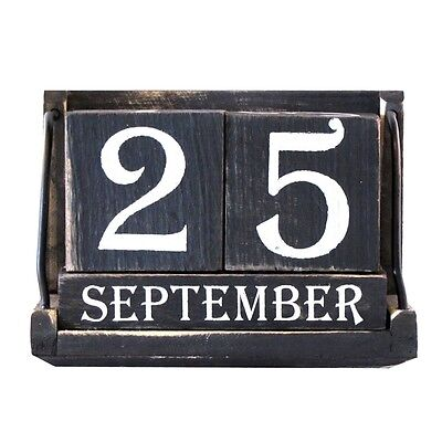 Vintage Wood Block Perpetual Calendar Reusable Wooden Desktop Office Desk Decor