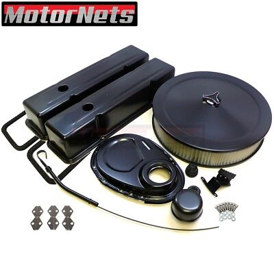 SBC Chevy Black Engine Dress Up Kit Tall Valve Covers Air Cleaner 58-79 SBC
