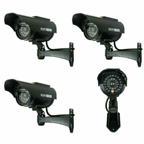 4X Solar Powered Dummy Surveillance Security Camera CCTV LED Record Light -Black