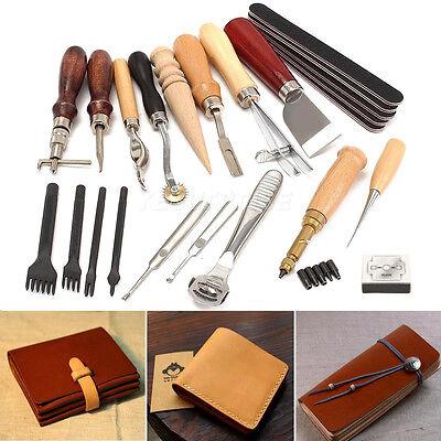 18tlg Leder Werkzeug Leather Stitching Craft Sewing Stitching Groover Kit Set