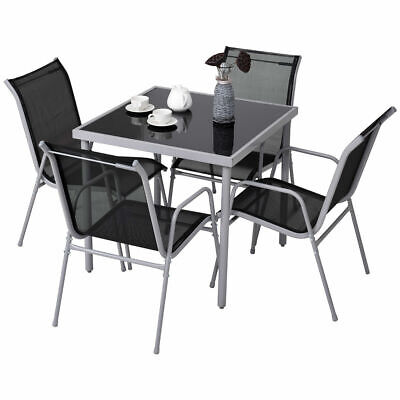5 PCS Bistro Set Garden Set of Chairs and Table Outdoor Patio - Outdoor Bistro Chairs